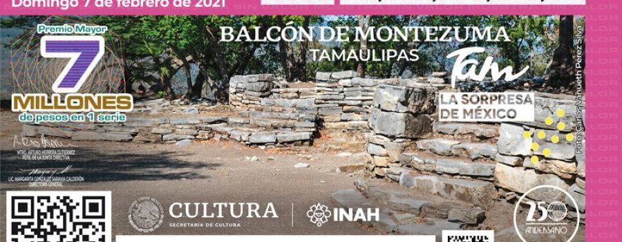 Zona arqueológica de Tamaulipas, imagen del sorteo de la Lotería Nacional