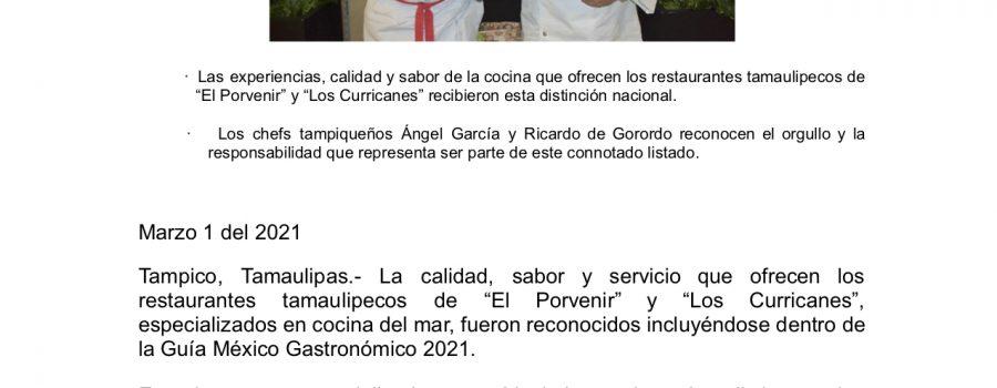 Sabores de Tamaulipas son reconocidos dentro de la Guía México Gastronómico 2021