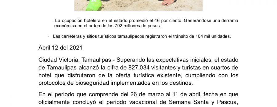 Tamaulipas supera 827 mil visitantes en periodo vacacional