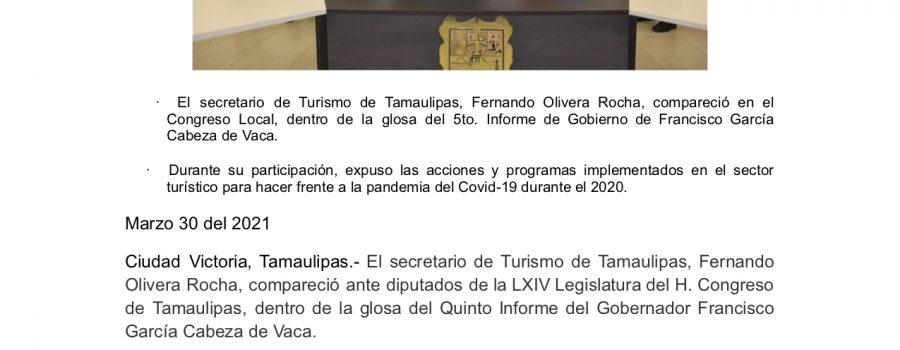 Turismo Tamaulipas informa logros y alcances ante diputados de la LXIV Legislatura